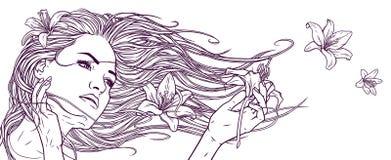 Den härliga flickan med den långa hår och liljan blommar Linjär grafisk teckning Realistisk grafisk illustration Arkivfoton