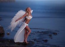 Den härliga flickan med vingar royaltyfri foto
