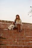 Den härliga flickan sitter med hennes stolta konung Charles Spaniel för hunden på trappan för röd tegelsten Royaltyfri Bild
