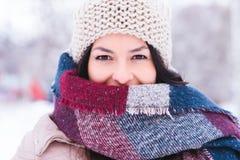 Den härliga flickan som poserar på a kunde vinterdagen Royaltyfri Foto