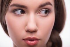 Den härliga flickan uttrycker olika sinnesrörelser Royaltyfri Fotografi