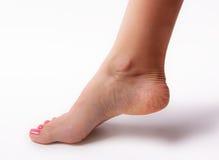 Den härliga foten med den perfekta brunnsorten spikar pedikyr på vit bakgrund Royaltyfria Foton