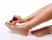 Den härliga foten med den perfekta brunnsorten spikar pedikyr på vit bakgrund Arkivfoton