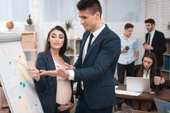 Den härliga gravida kvinnan med den unga mannen i dräkt studerar diagram och diagram på flipchart royaltyfri foto