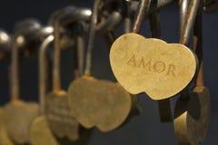 Den härliga hänglåset i formen av en valentin för helgon för hjärtaförälskelseför evigt till död avskiljer dem som är trevliga Arkivfoto