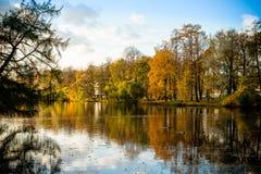 Den härliga hösten parkerar med sjön på soligt väder scenisk höstliggande Sammansättning av naturen färgrik lövverk över royaltyfria foton