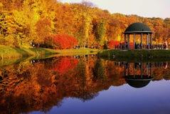 Den härliga hösten parkerar med träd och en sjö Arkivfoto