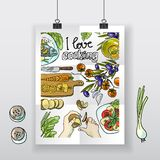 Den härliga hand-attraktion affischen älskar jag matlagning stock illustrationer