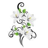 Den härliga hand-teckningen lämnar blommar blom- bakgrund med gräsplan och liljan arkivbild
