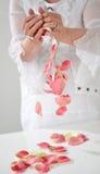 Den härliga handen med perfekt fransk manikyr på behandlat spikar hol Fotografering för Bildbyråer