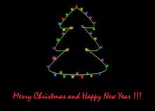 Den härliga julkortet, som det finns gran-trädet på, dekorerade med girlanden färgade ljus Fotografering för Bildbyråer