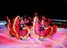 Den härliga kapaciteten av konstnärer turnerar på i cirkusshowen arkivbilder