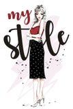 den härliga kläder fashion kvinnabarn Hand dragen modekvinna för blont hår skissa vektor illustrationer
