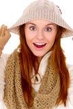 den härliga kläder värme den slitage vinterkvinnan Royaltyfri Fotografi