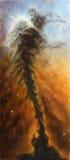 Den härliga kosmiska nebulosan vred i utrymme av stjärnljus och stardust Royaltyfri Fotografi