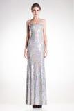 Den härliga kvinnamodellen som poserar i långa eleganta silverpaljetter, klär Royaltyfri Fotografi