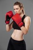 Den härliga kvinnan boxas på grå bakgrund arkivbilder
