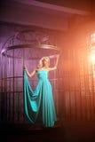 Den härliga kvinnan gillar en prinsessa i slotten Lyxig rik fa Royaltyfria Bilder