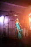 Den härliga kvinnan gillar en prinsessa i slotten Lyxig rik fa Arkivbild