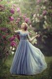 Den härliga kvinnan i blått klär utomhus- Arkivfoto