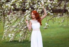Den härliga kvinnan i blomningen parkerar fotografering för bildbyråer