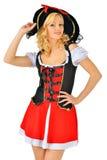 Den härliga kvinnan i karneval piratkopierar dräkten. Arkivfoto