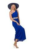 Den härliga kvinnan i långa blått klär isolerat på royaltyfria bilder