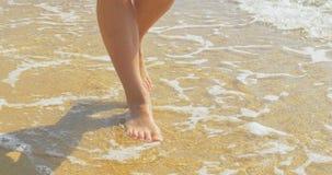 Den härliga kvinnan lägger benen på ryggen och att gå vidare sandstranden gå vatten stock video