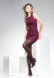 Den härliga kvinnan med långa sexiga ben klädde elegant posera i studion Arkivbild