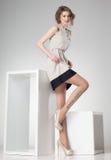 Den härliga kvinnan med långa sexiga ben klädde elegant posera i studion - full kropp Arkivfoto