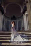 Den härliga kvinnan med mörkt hår bär den lyxiga paljettklänningen Royaltyfria Foton