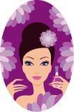Den härliga kvinnan med spikar polermedel. Manicure Arkivfoton