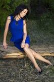 Den härliga kvinnan med svart hår i eleganta blått klär Royaltyfri Bild
