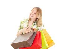 Den härliga kvinnan på shopping turnerar Arkivfoto