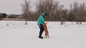 Den härliga kvinnan rymmer hennes hund på koppeln som spelar med hennes vinter i snö, parkerar royaltyfria foton