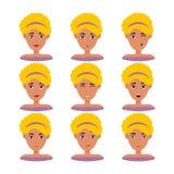 Den härliga kvinnaståenden med olika ansiktsuttryck ställde in isolerat vektor illustrationer