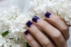 Den härliga kvinnliga handen med lilor spikar design royaltyfria bilder