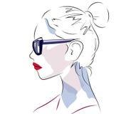 Den härliga kvinnliga profilen skissar stil Royaltyfri Fotografi