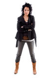 den härliga kvinnligmodellen poserar standing Arkivfoto