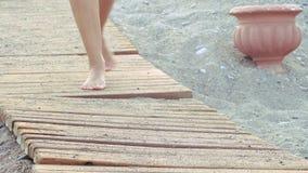 Den härliga kvinnlign garvade fot som promenerar trägångbanan på stranden flickan går på stranden arkivfilmer