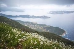 Den härliga landskapsikten av Kas, Turkiet fotografering för bildbyråer