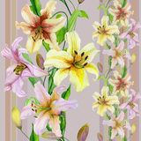 Den härliga liljan blommar med gröna sidor på pastell gjord randig bakgrund seamless blom- modell Raksträcka och lodlinje royaltyfri illustrationer