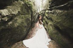 Den härliga lyckliga bruden i en skog med vaggar utomhus Gifta sig perfekt dag royaltyfri fotografi
