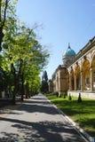 Den härliga Mirogoj kyrkogården på den soliga dagen Arkivbild