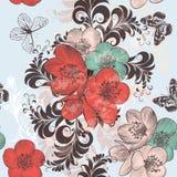Den härliga modellillustrationen med handen drog vallmo blommar in royaltyfri illustrationer