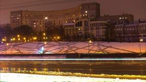 Den härliga Moskva för afton för tidschackningsperiod videopd, 4K arkivfilmer