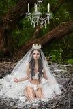 Den härliga och sexiga brunettmodellflickan, i damunderkläder och krona, sitter i ett enormt rede i den gröna skogen royaltyfri bild
