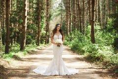 Den härliga och stilfulla brunettmodellflickan med frisyren som dekoreras med smycken i innegrej, snör åt klänningen som pose royaltyfri fotografi