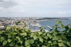 Den härliga panoramautsikten från ovannämnt till hamnstaden av Setubal i Portugal lokaliserade på den atlantiska kusten Royaltyfria Foton