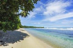 Den härliga paradisstranden, vit sand, turkosvatten, gömma i handflatan, seych Arkivfoto